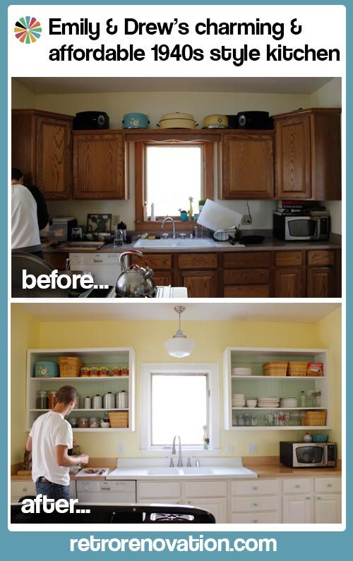 Emily & Drew's charming and affordable 1940s style kitchen -- Retro Renovation -- full makeover article with lots of pictures