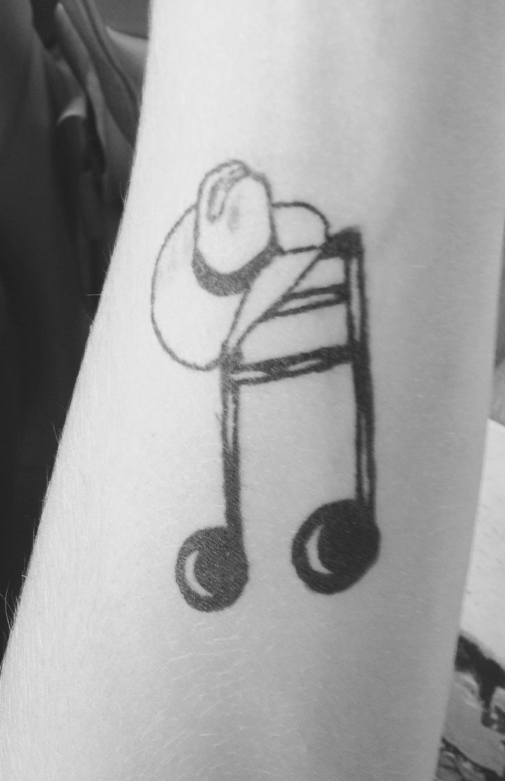 Country music tattoo, music note, cowboy hat