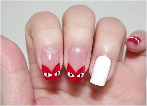 셀프네일 No.63 꼼데가르송 하트 네일아트 #heart #nails # red