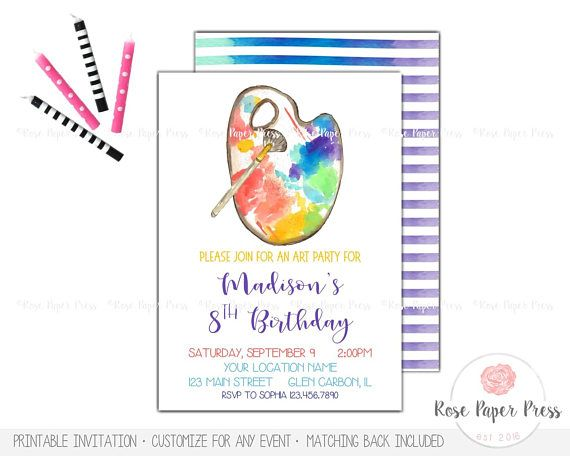 Art Birthday Invitation | Art Party Invitation | Painting Party Invitation | Paint Invitation | Art Birthday Party | Custom Digital Invite  This invitation is an original design of Rose Paper Press, personalized for your event. All colors, wording, and font can be customized. This is a high-resolution (300 dpi) digital file ready for you to print yourself. You will not receive any printed items with this purchase.  | WHAT'S INCLUDED | Double-sided 5in. x 7in. digital invitation, including 1…
