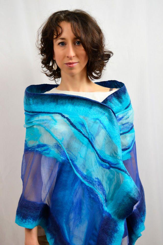 Silk shawl Nuno felted Natural silk and merino wool Blue Turquoise Handmade Eco #Handmade #LongScarf #everydaypartyweddingcelebration