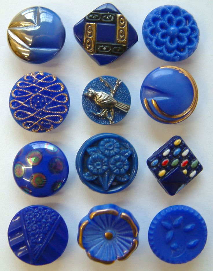 12 Vintage Cobalt Blue Small Glass Buttons, Silver Bird, Flowers, Enamel