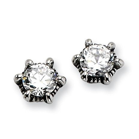 Stainless Steel Antiqued CZ Post Earrings SRE303