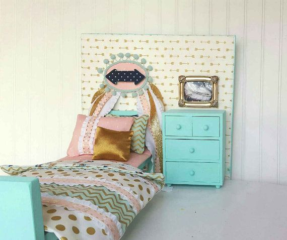 Arrow American girl doll bedroom set 18 doll bed by Head2Heart