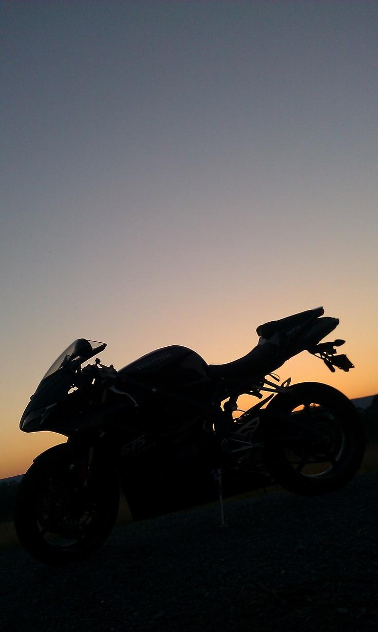 My triumph daytona 675 in the sunset