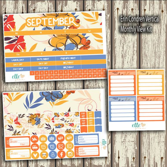 3 sheets of matte monthly view kit: - made to fit the Erin Condren vertical planner   Due to different monitors, screen resolutions and brightness…