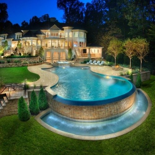 love the curved pool with circular infinity end: One Day, In My Dreams, Future Houses, My Dreams Home, Dreams Houses, Swim Pools, Fountain, Backyard, Dreams Pools