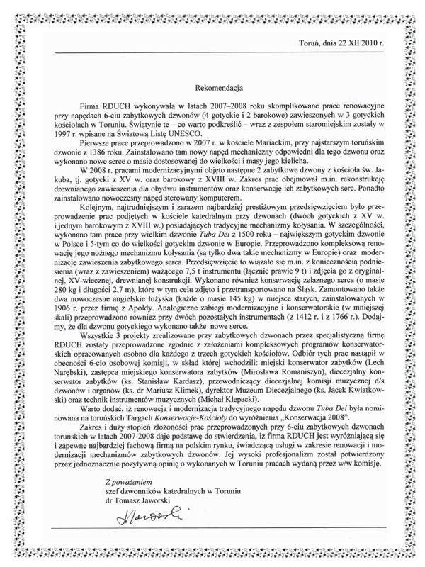 Prace przy zabytkowych dzwonach - RDUCH BELLS & CLOCKS - Rekomendacja Dzwon Tuba Dei - Toruń