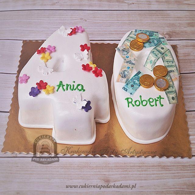 87BA. Urodzinowe cyfry. 40th  number cake for a couple.