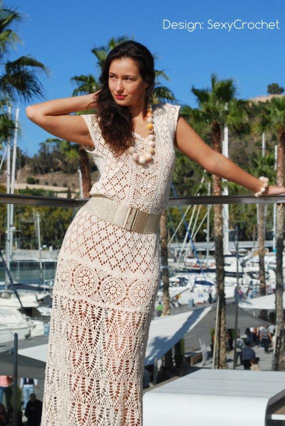 """Vestido """"Encantada"""" de crochet para novia / SexyCrochet - Artesanio: Maxi Dresses, Beaches Dresses, Crochet Dresses, Dresses Pants, Knits Dresses, Crochet Tattoo, Crochet Crafts, Lace Dresses, Crochet Clothing"""