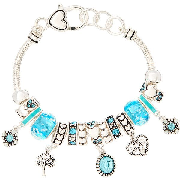 Oori Trading March Birthstone Charm Bracelet ($8.99) ❤ liked on Polyvore featuring jewelry, bracelets, lobster claw clasp charms, lobster clasp charms, beaded bangles, bead charm bracelet and birthstone charms