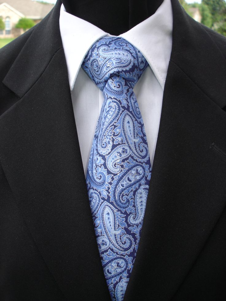Paisley Necktie, Paisley Tie, Blue Necktie, Blue Tie, Mens Necktie, Mens Tie, Blue Paisley Necktie, Blue Paisley Tie, Father, Dad, Gift, The by EdsNeckties on Etsy