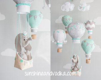 Elefante bebé móvil móvil de globo de aire por sunshineandvodka