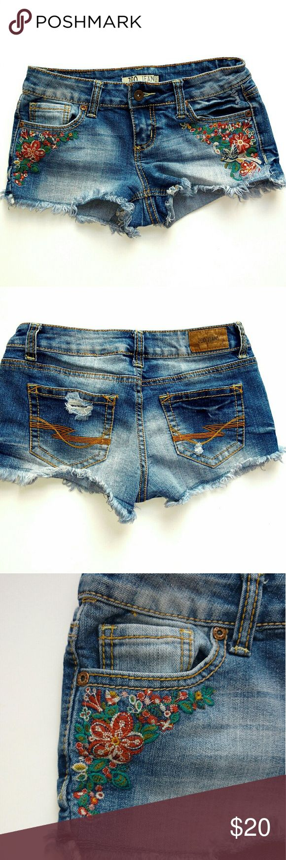 "ZCO Jeans Embroidered Denim Cut-off Short Shorts Excellent worn condition, Factory destroyed. Super cute shorts. I have 2 pairs of size 5 junior denim cut off shorts posted, bundle for a deal! Measurements  Waist (flat) 15"" Rise 7.5"" Length 9"" Inseam 2"" ZCO Shorts Jean Shorts"