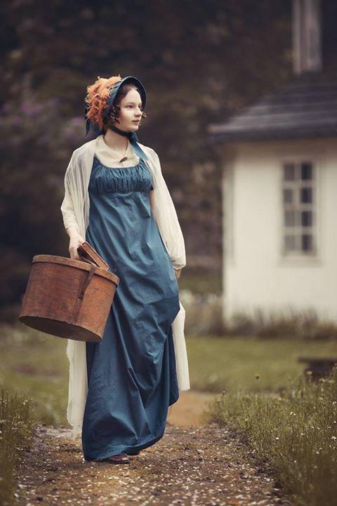 Beautiful regency dress, shawl, and bonnet