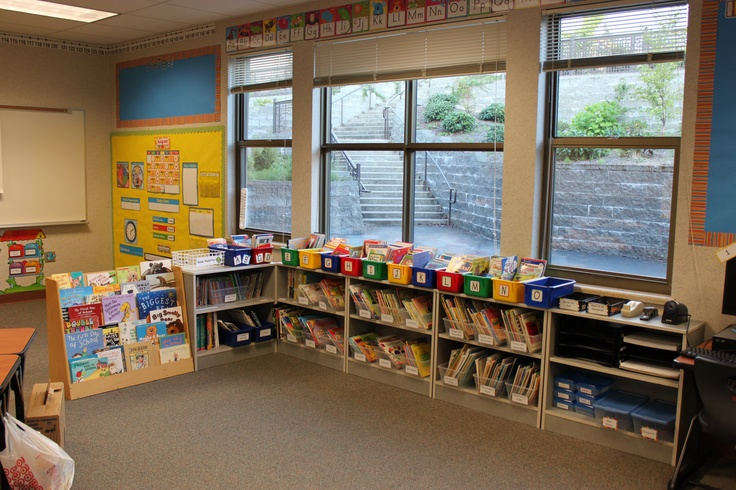 Classroom Library. Leveled Books on top, book browsing books in labeled bins.