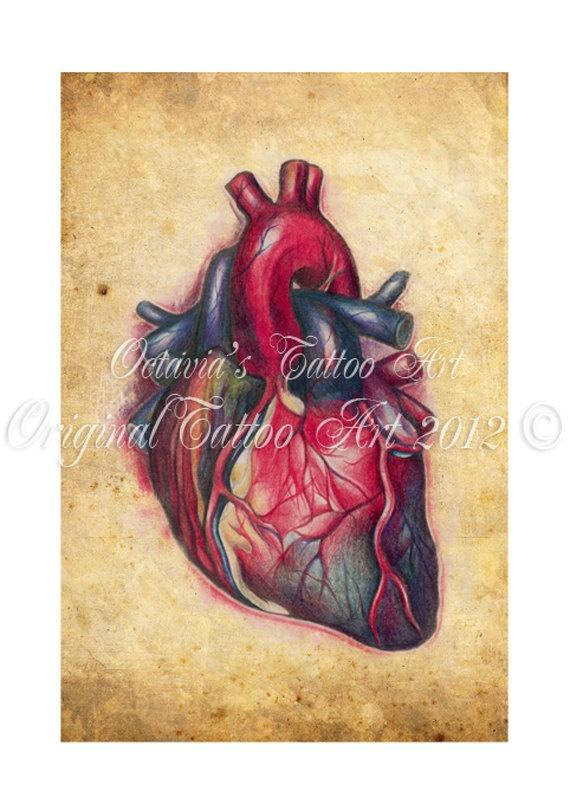 Tattoo Heart Print,  Anatomical Heart by OctaviaTattoo on Etsy, £12.00
