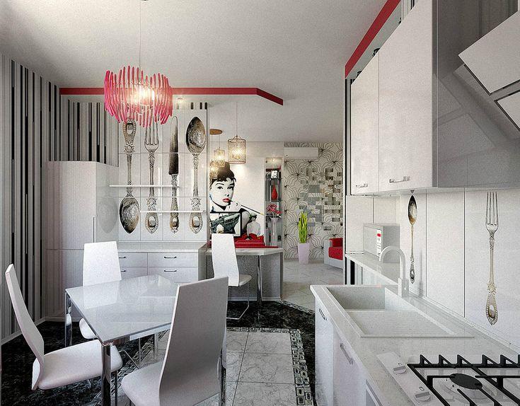 Red pendant light on the kitchen. #Pendantlight #Lighting