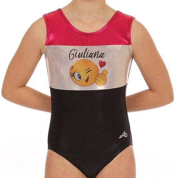 Maillot de gymnastique emoticone Emoji gymnastics Mystique noir doré et fuschia