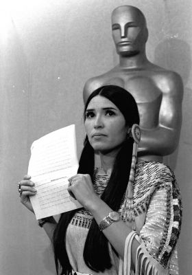 """Marlon Brando, The Godfather, 1972 (Refused his Oscar because of the mistreatment of American Indians, sent """"Sacheen Littlefeather"""" in his place)"""