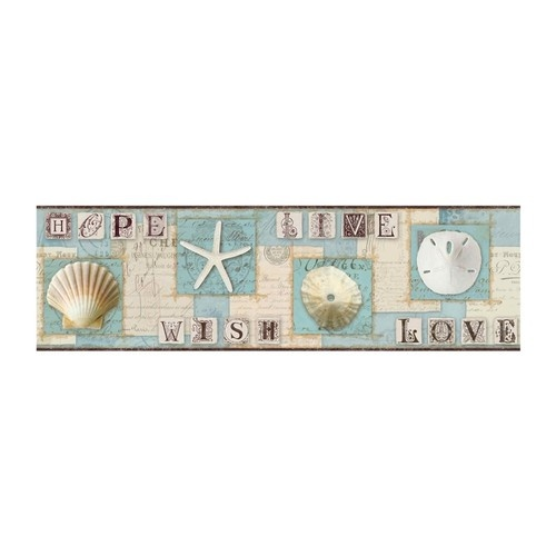Starfish And Seashells Wallpaper Border, Aqua Beach