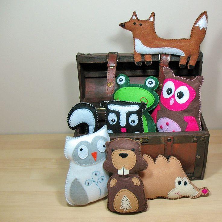 7 Woodland Forest Stuffed Animal Hand Sewing PATTERNS - DIY Owl Fox Frog Skunk Hedgehog Beaver Plushies - Easy. $17.00, via Etsy.