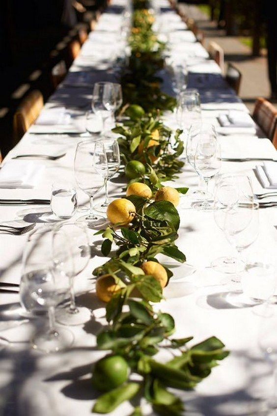 Bring Italian charm to your table scape with this runner / http://www.himisspuff.com/citrus-wedding-decor-ideas/