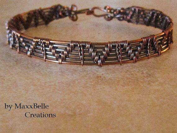 Copper Wire Weave Bracelet Oxidized by MaxxBelleCreations on Etsy