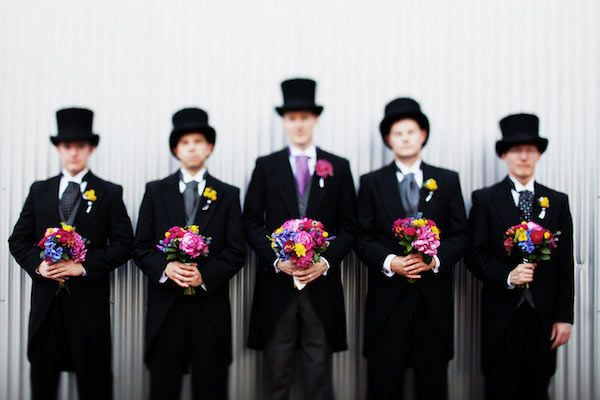The bride wore black. And so did the groom and his dapper groomsmen, with a stylish assist from some top hats and manly floral bouquets. | (via RuffledBlog.com) @Ann Taylor @Style Me Pretty