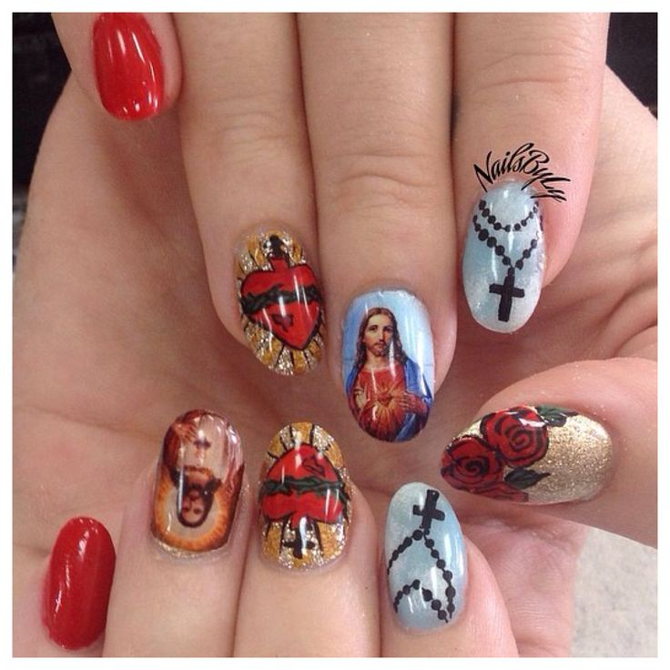 Nail art, nail design, catholic, rosary, Jesus, hand drawn, acrylic nails
