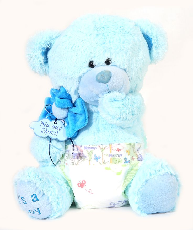 We make Teddy Bears the way they should be made, with child-safe eyes and fur that's soft, washable, flame resistant, and hypoallergenic. Our Baby Boy Bear is dressed in a diaper. #NewBaby #TeddyBear