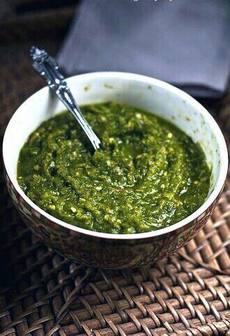 Sambal ijo. Green chili dip souce. From Padang, west sumatra, indonesia.