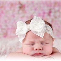 Boutique Solidna Lace Bow Opaski Dla Niemowląt Za Toddler Dziewczynek Słodkie Turban Hearwraps Pasma Włosów