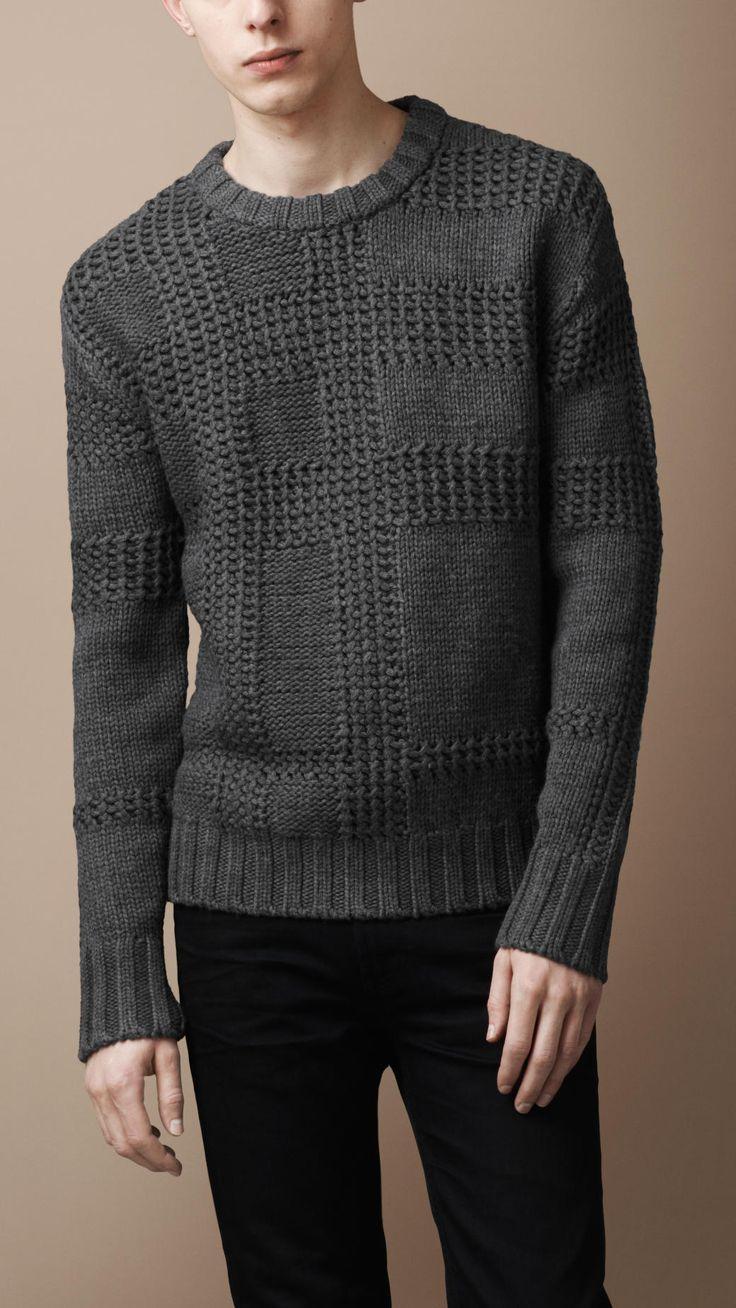 Textured Check Merino Sweater   Burberry