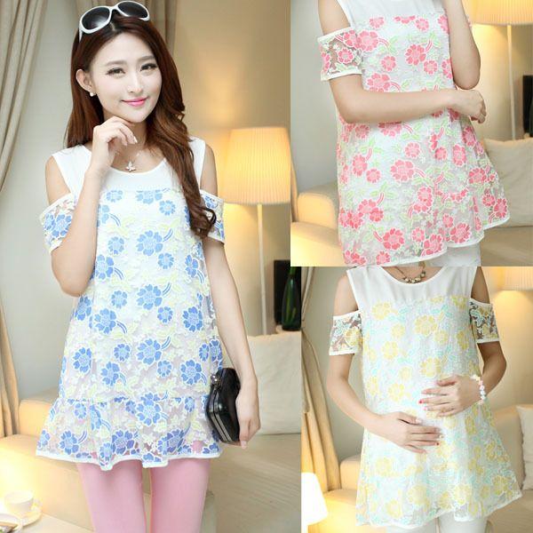 Цветок кружева беременных блузки и рубашки с коротким рукавом беременность топы без бретелек беременные одежда для беременных женщин