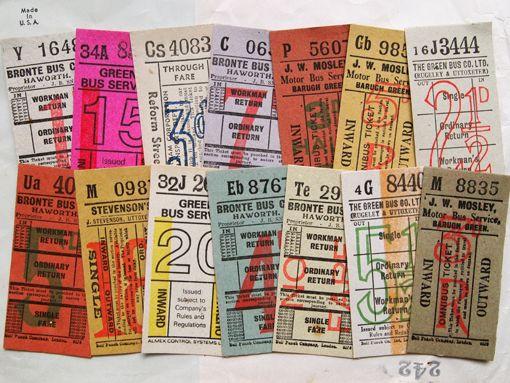 vintage ticket  イギリスのかわいいバスチケット http://www.ecrafty.com/c-81-craft-supplies.aspx