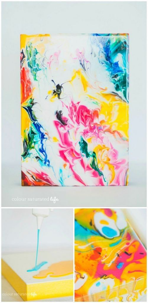 DIY marble abstract art tutorial and other abstract art. Pretty rainbow colors. Please also visit www.JustForYouPropheticArt.com for more colorful art you might like to pin or purchase. Thanks for looking!