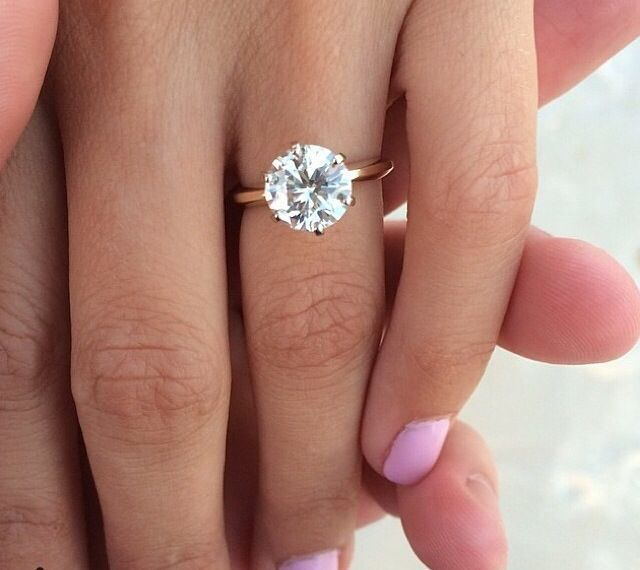 gold band six prong round solitaire engagement ring   Wedding ...