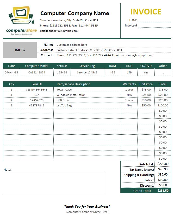 computer sales service invoice template bills invoices and receipts pinterest template. Black Bedroom Furniture Sets. Home Design Ideas