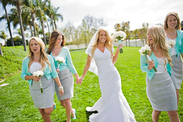 Bridesmaids in pencil skirts and cardigans... Instead of dresses they spend a fortune on and never wear again.
