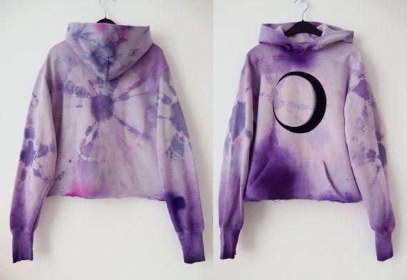 crystal cave witch  pastel tie dye hoodie / moon by mermaidEYE