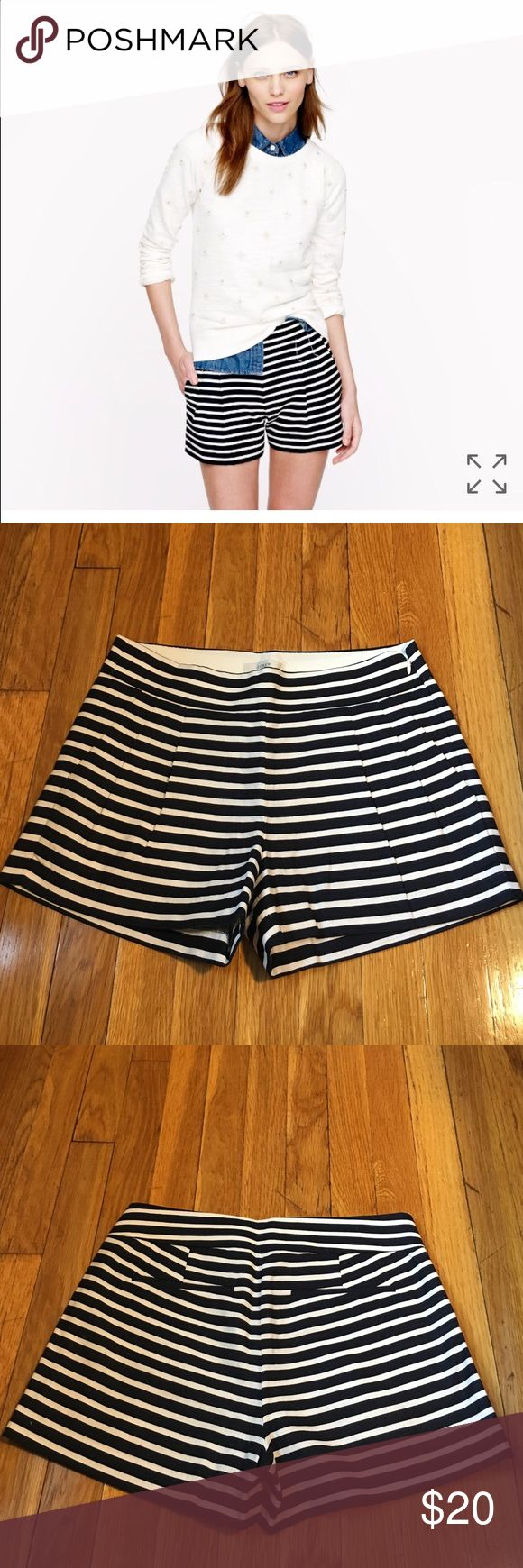 """Jcrew pleated shorts in nautical stripe Adorable pleated shorts wth nautical stripe from jcrew. Crisp look with a slightly flared silhouette.  Worn once and in incredible condition.   True to size. Higher rise. Linen/cotton. Sits below waist. 3"""" inseam. Side zip. Dry clean. Item 82107. J. Crew Shorts"""