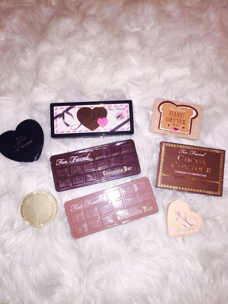 My too faced blushes, bronzers, and eye shadow palettes all these products are so amazing!!!! Love too faced!!💕