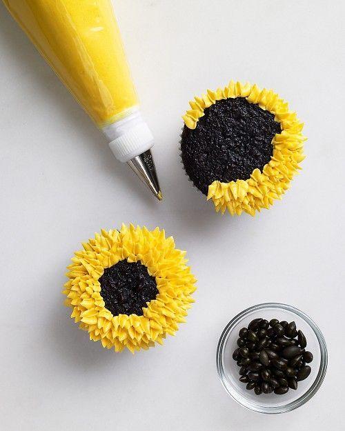 Piped Buttercream Sunflower Cupcake