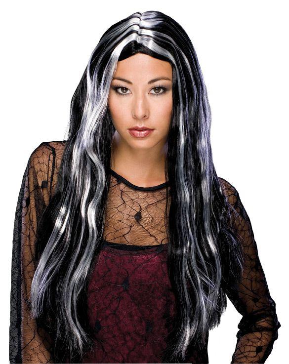 Noidan peruukki. Valko-musta pitkä raidallinen peruukki.