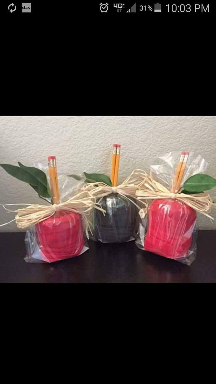 End of the year teacher gift - solid red Lularoe leggings, bundled up like apples!