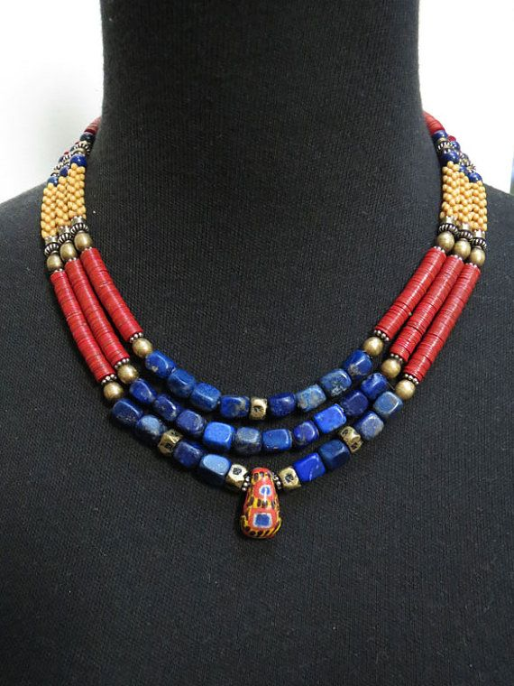 Lapis and African Trade Bead Triple Strand by GEMILAJewels on Etsy
