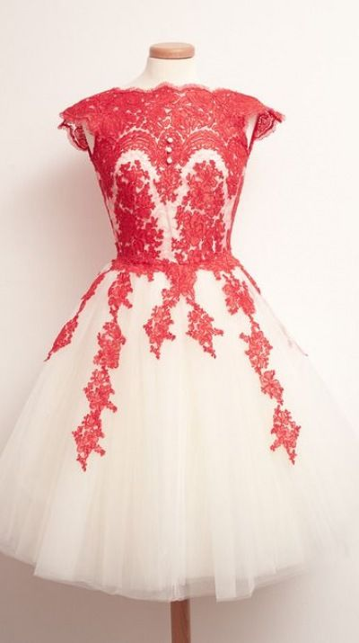 2015 vintage red white high neck short sleeves lace short prom dress for teens, ball gown, ing dress, evening dress #promdress