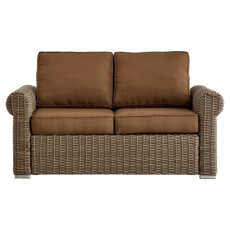 Riviera Pointe Wicker Patio Round Arm Loveseat with Cushions - Mocha/Brown - Inspire Q