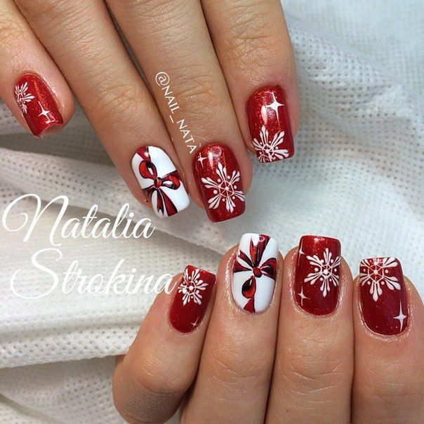 Дизайн ногтей Новый год, снежинки | 151 фотографія